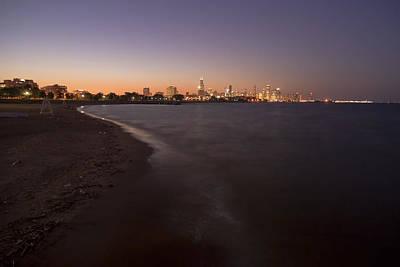 Night Beach And Chicago Skyline Art Print by Sven Brogren