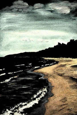 Digital Art - Night Beach by Michelle Calkins
