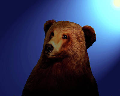 Art Print featuring the digital art Night Bear by Timothy Bulone