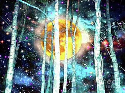 Holiday Pillows 2019 - Night Birch Forest by Daniel Janda