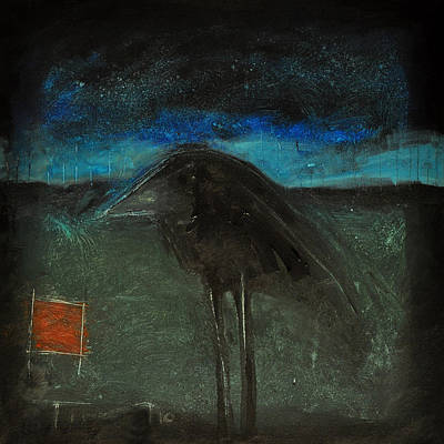 Naive Cartoon Painting - Night Bird With Red Square by Tim Nyberg