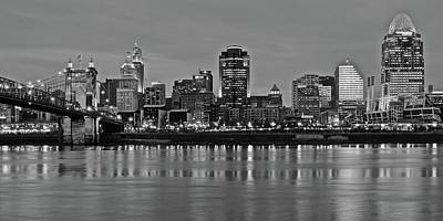 Night Black And White Of Cinci 2016 Art Print
