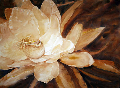 Champagne Painting - Night Bloomer 22 X 30 Wc by Shirley Sykes Bracken