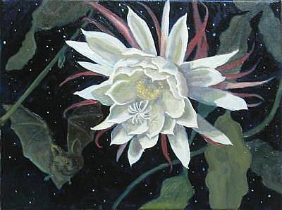 Night Blooming Cereus Painting - Night Blooming Cereus And Bat by Margie Guyot