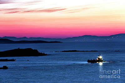 Photograph - Night Boat On The Aegean Sea by John Rizzuto