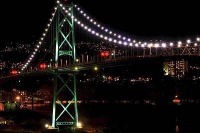 Vancouver At Night Photograph - Night Bridge by Anna Lyndi