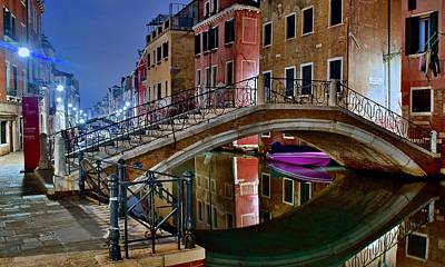 Photograph - Night Bridge In Venice by Frozen in Time Fine Art Photography