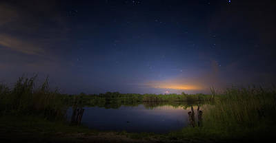 Beauty Mark Photograph - Night Brush Fire In The Everglades by Mark Andrew Thomas