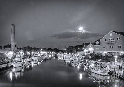 Photograph - Night Canal Bw by Joann Long