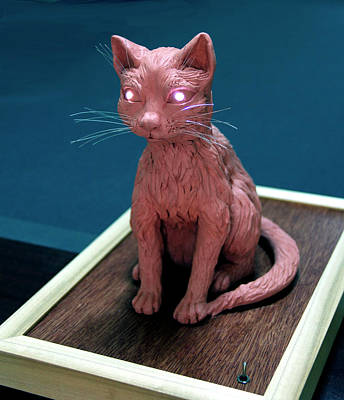 Modeling Clay Sculpture - Night Cat by Yelena Rubin