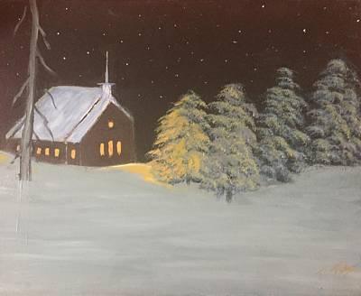 Iraq Painting - Night  Church by Terry Tuley