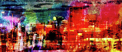 Mixed Media - Night City Lights by R Kyllo
