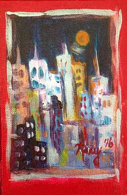 Cities Painting - Night City by Roxy Rich