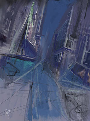 City Scenes Mixed Media - Night City by Russell Pierce
