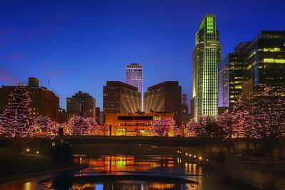 Photograph - Night Cityscape - 2 - Omaha - Nebraska by Nikolyn McDonald
