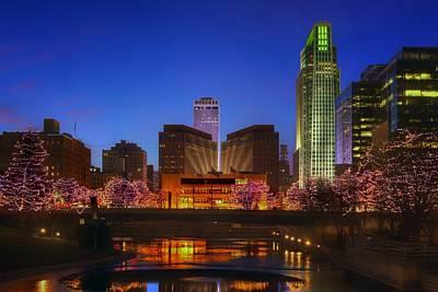 Photograph - Night Cityscape - 2 - Omaha - Nebraska by Nikolyn McDonald
