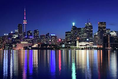 Photograph - Night Colors Of Toronto by Frozen in Time Fine Art Photography