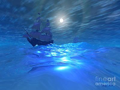 Boating Digital Art - Night Crossing by Corey Ford