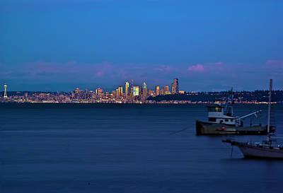 Night Descending On Seattle Art Print by Dale Stillman
