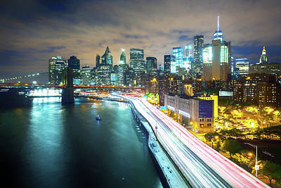 Thomas Kinkade Royalty Free Images - Lower Manhattan Royalty-Free Image by Ronald Bolokofsky