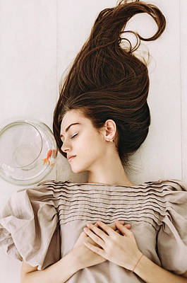 Photograph - Night Dream. Series Escape Of Golden Fish  by Inna Mosina