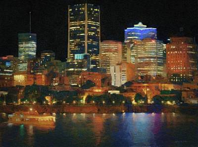 Montreal Buildings Painting - Night Excursion In Montreal by Jeffrey Kolker