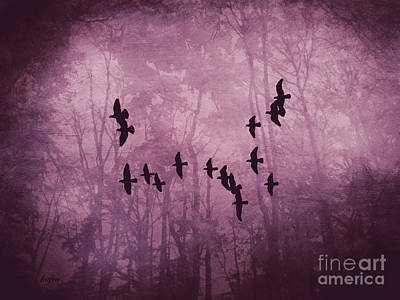 Flock Of Bird Mixed Media - Night Fall by KaFra Art