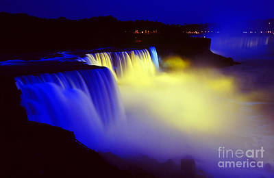Photograph - Night Falls - Niagara Falls At Night Waterfall Water Fall Landscape by Jon Holiday