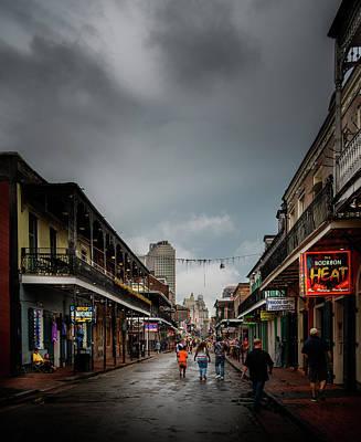 Dramatic Photograph - Night Falls On Bourbon Street by Chrystal Mimbs