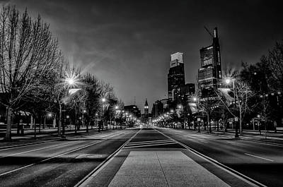Photograph - Night Falls On The City - Philadelphia - Black And White by Bill Cannon