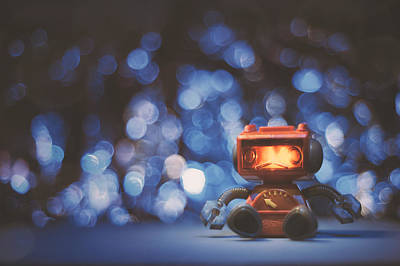 Toy Photograph - Night Falls On The Lonely Robot by Scott Norris