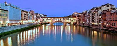 Photograph - Night Falls On The Ponte Vecchio by Frozen in Time Fine Art Photography
