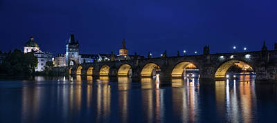 Panorama Prague Photograph - Night Falls Over Charles Bridge Prague Czech Republic by Steve Gadomski