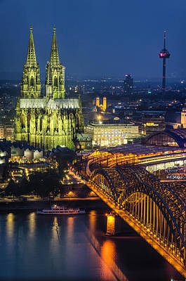 Photograph - Night Falls Upon Cologne 1 by Pablo Lopez