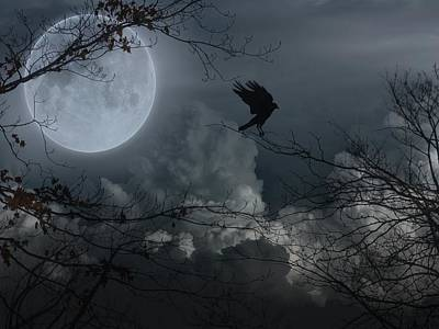 Crow In A Full Moon Night Fantasy Art Print by Gothicrow Images