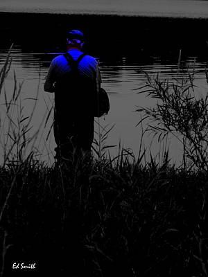 Night Fishing Digital Art - Night Fisherman by Ed Smith