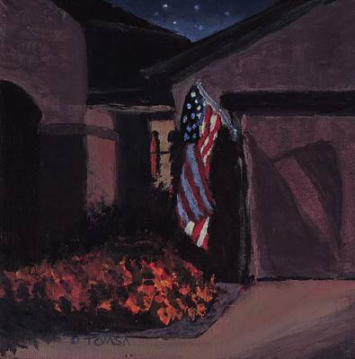 Painting - Night Flag by Bill Tomsa