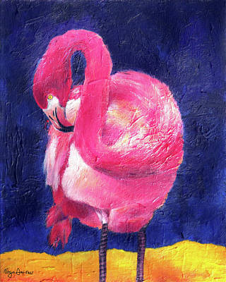 Night Flamingo Print by Noga Ami-rav