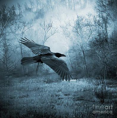 Fantasy Tree Mixed Media - Night Flight by KaFra Art