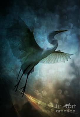 Digital Art - Night Flight Of The Great Egret by Maria Urso