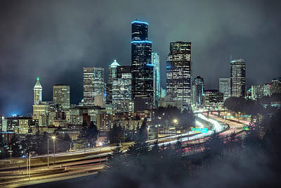 Photograph - Night Fog Cityscape Of Downtown Seattle Skyscraper Buildings by Open Range