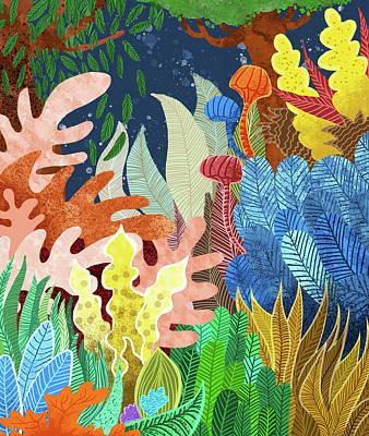 Digital Art - Night Forest by Uma Gokhale