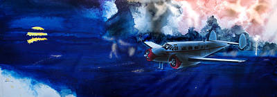 Night Freighter Beech 18 Original by J Griff Griffin