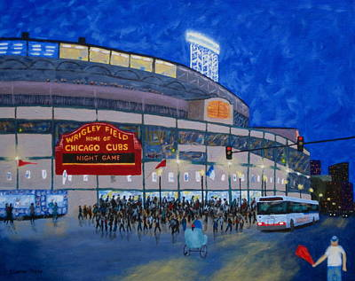 Wrigley Field Painting - Night Game by J Loren Reedy