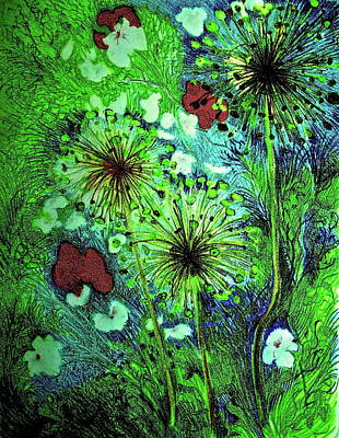 Fireworks Art Mixed Media - Night Garden With Allium by Bonnie See