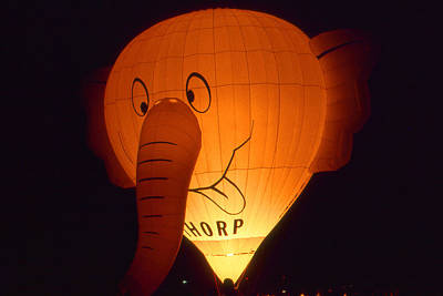 Photograph - Night Glowing Elephant - Hot Air Balloon by Art America Gallery Peter Potter