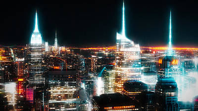 Mixed Media - Night Glow New York City by Dan Sproul