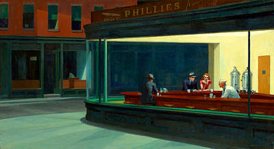 City Scenes Royalty-Free and Rights-Managed Images - Night Hawks by Edward Hopper