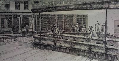Night Hawks Whiteboard Original by Stephen Duffin