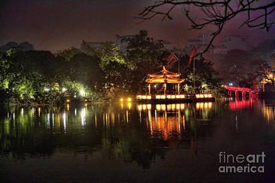 Kiem Photograph - Night Hoan Kiem Lake  by Chuck Kuhn